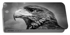 Harris Hawk  Black And White Portable Battery Charger