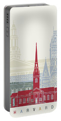 Harvard Skyline Poster Portable Battery Charger by Pablo Romero