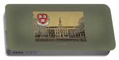 Harvard University Building Overlaid With 3d Coat Of Arms Portable Battery Charger
