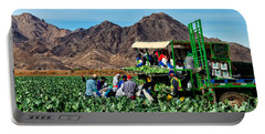 Harvesting Broccoli Portable Battery Charger by Robert Bales