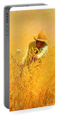 Portable Battery Charger featuring the painting Harvesting The Wheat 1908 Harvey T Dunn by Peter Gumaer Ogden