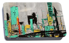 Portable Battery Charger featuring the painting Hashtag City by Carmen Guedez