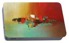 Portable Battery Charger featuring the painting Hashtag Happy - Abstract Art by Carmen Guedez