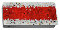 Hashtag Red - Abstract Art Portable Battery Charger by Carmen Guedez