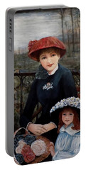 Portable Battery Charger featuring the painting Hat Sense by Judy Kirouac