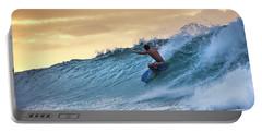 Hawaii Bodysurfing Sunset Polihali Beach Kauai  Portable Battery Charger