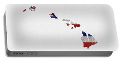 Portable Battery Charger featuring the painting Hawaii Typographic Map Flag by Inspirowl Design