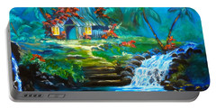 Portable Battery Charger featuring the painting Hawaiian Hut And Waterfalls by Jenny Lee