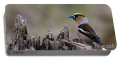 Hawfinch Perching Portable Battery Charger by Torbjorn Swenelius