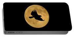 Portable Battery Charger featuring the mixed media Hawk Flying By Full Moon by Shane Bechler