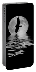 Portable Battery Charger featuring the photograph Hawk In The Moonlight 2 by Shane Bechler