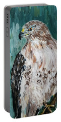 Portable Battery Charger featuring the painting Hawk by Maria Langgle