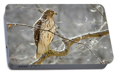 Portable Battery Charger featuring the photograph Hawk On Lookout by George Randy Bass