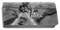 Portable Battery Charger featuring the photograph Hawker Typhoon Rocket Attack Bw Version by Gary Eason