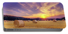 Hay Bales And The Setting Sun Portable Battery Charger