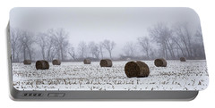 Hay Bales In The Snow Portable Battery Charger