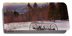 Hay Rake At Winter Sunset Portable Battery Charger