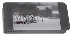 Hay Rake In The Snow Portable Battery Charger by Joy Nichols
