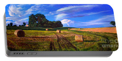 Hay Rolls On The Farm By Christopher Shellhammer Portable Battery Charger
