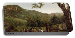 Haymakers Picnicking In A Field Portable Battery Charger