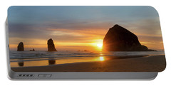 Haystack Rock At Cannon Beach During Sunset Portable Battery Charger