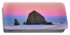 Haystack Rock At Dawn Portable Battery Charger