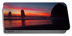 Haystack Rock At Sunset 2 Portable Battery Charger