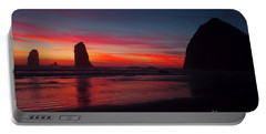 Haystack Rock At Sunset Portable Battery Charger
