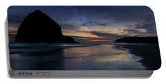 Haystack Rock Under Starry Night Sky Portable Battery Charger