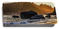 Hazy Golden Hour At Trinidad Harbor Portable Battery Charger