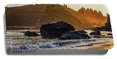 Portable Battery Charger featuring the photograph Hazy Golden Hour At Trinidad Harbor by John Hight