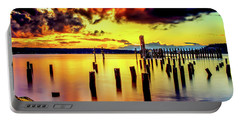 Hdr Vibrant Titlow Beach Sunset Portable Battery Charger