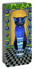 Portable Battery Charger featuring the painting He Is Back - Blue Cat Art by Dora Hathazi Mendes