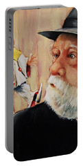 He Was Always Looking Over His Shoulder Portable Battery Charger by Jean Cormier