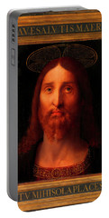 Portable Battery Charger featuring the painting Head Of Christ                                   by Fernando De La Almedina