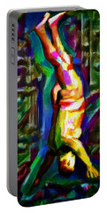 Headstand Naked Unconventional Figure Portrait Painting Bright Colorful Gymnastics Old Man Nude Male Men Athletic Stomach Fat Feet Head Hands Rainbow Portable Battery Charger by MendyZ