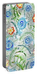 Portable Battery Charger featuring the painting Healing Garden by Monique Faella