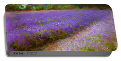 Impressionistic Lavender Field Landscape Plein Air Painting Portable Battery Charger by Karen Whitworth