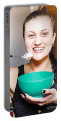 Healthy And Happy Woman Eating Morning Breakfast Portable Battery Charger by Jorgo Photography - Wall Art Gallery