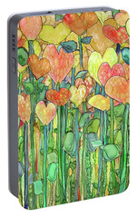 Portable Battery Charger featuring the mixed media Heart Bloomies 1 - Golden by Carol Cavalaris