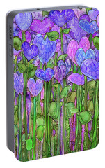 Portable Battery Charger featuring the mixed media Heart Bloomies 1 - Purple by Carol Cavalaris