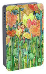 Portable Battery Charger featuring the mixed media Heart Bloomies 2 - Golden by Carol Cavalaris