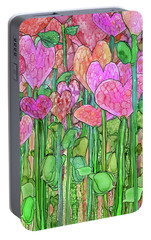 Portable Battery Charger featuring the mixed media Heart Bloomies 2 - Pink And Red by Carol Cavalaris