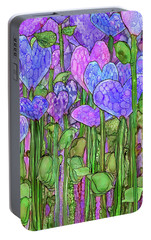 Portable Battery Charger featuring the mixed media Heart Bloomies 2 - Purple by Carol Cavalaris