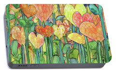Portable Battery Charger featuring the mixed media Heart Bloomies 3 - Golden by Carol Cavalaris