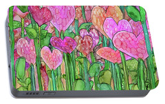 Portable Battery Charger featuring the mixed media Heart Bloomies 3 - Pink And Red by Carol Cavalaris