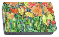 Portable Battery Charger featuring the mixed media Heart Bloomies 4 - Golden by Carol Cavalaris