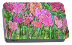 Portable Battery Charger featuring the mixed media Heart Bloomies 4 - Pink And Red by Carol Cavalaris