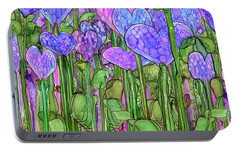 Portable Battery Charger featuring the mixed media Heart Bloomies 4 - Purple by Carol Cavalaris