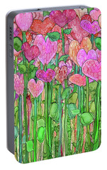 Portable Battery Charger featuring the mixed media Heart Bloomies 1 - Pink And Red by Carol Cavalaris